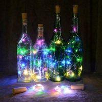 2m 20 LED 미니 병 마개 램프 문자열 요정 빛 다채로운 라이트 바 장식