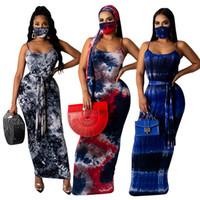 Kravat Boya Spagetti Kayışı Elbise Kadınlar Için Maske Ile Seksi Kemer Kalem Elbiseler Yaz Famale Rahat Giysiler