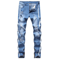 2020 de Moda de Nova Ripped Jeans Hollow Men Out Impresso Beggar calças cortadas Man Cowboys Demin Calças Masculino
