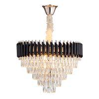 Yeni Modern Lüks Oturma Odası Kristal Avize Yüksek Kalite Siyah Cristal Cilası Asılı LED Kristaller Lamba