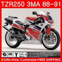 Carrosserie Pour YAMAHA TZR250 3MA TZR-250 1988 1989 1990 1991 118HM.52 Blanc TZR250 RS Capot rouge YPVS TZR250RR TZR 250 88 89 90 91 Kit de carénage