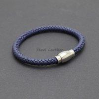 5pcs / lot logotipo personalizado trenzado de cuero pulseras brazalete del Heren En la marina de guerra de los hombres con el reloj de cuero magnética pulsera hombre Para elegante