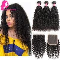 Brasileira Virgem Do Cabelo Encaracolado Tecer 3 Pacotes com Fechamento de Renda Parte Livre 4x4 8A 100% Não Transformados Brasileiro Kinky Curly Tecer Feixes de cabelo