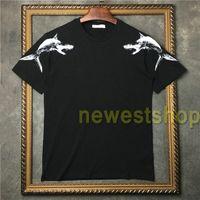 Летняя одежда акула фигура шаблон печати футболки мода женские с короткими рукавами дизайнер футболки футболки повседневная хлопковая тройник
