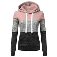 Fashion-PRINTEMPS casquette NEWLadies'recreational sportswear Mode féminine Hoodies Casual Sweat-shirt à capuche Patchwork dames Chemisier Pullove
