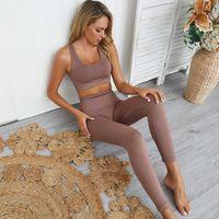 Kadınlar Yoga For Salonu 2 Adet Set Egzersiz Giyim Spor Sütyen Ve Pantolon Katı Renk Spor Tozluklar Spor Kadın Yoga Wear Set