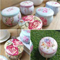 Scatole di latta a forma di tamburo portatile Scatole di contenitori per tè di fiori Contenitore di biscotti di caramelle per pacchetto di regali di festa