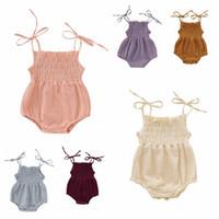 Babywäsche Baumwolle Strampler Sommer Sleeveless Neugeborenen Overall Infant Mädchen Solide Farbe Strampler Kinder Bodysuit Kleted Kleidung CLS299-ZWL735