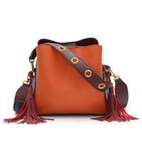 Women Vintage Shoulder Bag PU Leather Handbag Solid Bucket F...