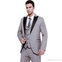 2018 Men Suits Grey Wedding Suit 3 Pieces Black Peaked Lapel Custom Made Groom Tuxedos Groomsmen Blazers Prom Clothing Evening Dress Terno