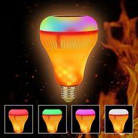 LED شعلة ضوء E27 الذكية سماعات بلوتوث اللاسلكية RGB عزف موسيقى الشعلة مصباح ملون عكس الضوء مع 24 مفاتيح التحكم عن بعد