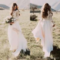 해변 점프 수트 웨딩 드레스 어깨 나라에서 보헤미안 신부 가운 2019 맞춤형 웨딩 드레스