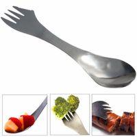Вилка Ложка spork 3 в 1 посуда из нержавеющей стали столовые приборы посуда комбо кухня открытый пикник совок нож вилка набор