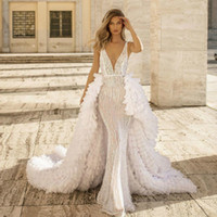 2020 Berta Sequined Deep V Neck Mermaid Wedding Dresses With...
