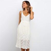 Лето женщин выдалбливают платья V шеи See Through девочек Straight платья Твердые высокого Wasit Женские повседневные платья