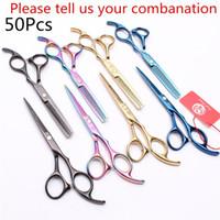 50Pcs Z1005 5.5 6.0 Japan Steel lila Drache Friseur s Schere Barber Shop-Ausschnitt-Scheren Ausdünnung Schere Professionelle Haarscheren