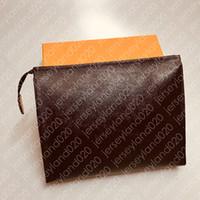 Bolsa de aseo 26 19 15 cm diseñador moda marrón embrague cosmético bolso de belleza bolso de viaje de lujo Mini Pochette Accesorios Monogramado lienzo