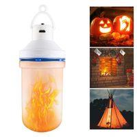 108 LED Flame lampe Effet de Scintillement Feu Ampoule USB Charge d'urgence Lumière de camping en plein air Lampe Portable lumière pour Halloween Party Holiday