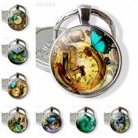 Kadınlar için Kelebek ve Saat Anahtarlık Romantik Takı Kelebek Resmi Cam Dönme kolye Metal Anahtarlık Moda Aksesuar