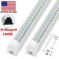 8FT LED-Leuchten, 8ft LED-Shop-Licht 6000k kaltweiß Dual Side T8 V-Form integrierter 8 Fuß LED-Röhre, klare Abdeckung