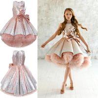 Paillettes brillantes fleur girls robes sans manches Tulle TULLE TULLE TUTU Girls Pageant robes de robe magnifique Puffy Pal Robes