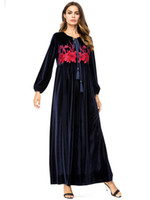 Inverno Donna tradizionale marocchina Qatar Velvet Dress arabo musulmano abito donne Robe Dubai turco Abbigliamento islamico