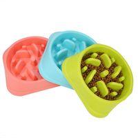 Tigela de comida de cachorro novo Lento Alimentador Anti Choke Pet Dog Feeding Alimentação Tigela de Alimentação Tigela Container Eating Plate 3 cor