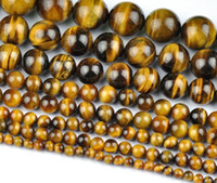 Wholesale Natural Tiger Eye Round Loose Stone Beads For Jewe...