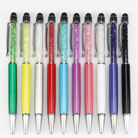 100PCS / 많은 도매 Mutlti 기능 METRAL 2 1 크리스탈 정전 용량 터치 스타일러스 모조 다이아몬드 공을 펜에 대한 이동 전화 PC 태블릿에서