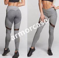 Женщины плотно облегающие тренировочные брюки сетка пэчворк персик прикладом йога брюки спортивный зал леггинсы эластичный Леди в целом полный колготки новый CZ310