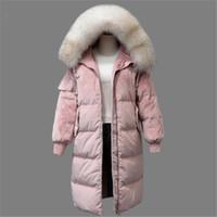 Женские пушистые Parkas 2021 енота белая утка куртка женщина зимнее перо пальто длинные сгущает теплое бархатное парку верхняя одежда