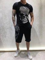 여름 망 디자이너 티셔츠 독일어 락 펑크 패션 스타일 다이아몬드 큰 두개골 T 셔츠 브랜드 의류 티셔츠 고품질 힙합 티셔츠
