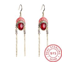 Chinese style ancient woman asymmetrical long tassel earring...