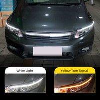 2 pcs para honda civic 2011 2012 2013 2014 2015 carro farol de carro decoração amarelo sinal 12 v drl diodo emissor de luz do dia