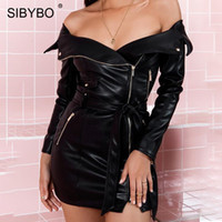 YIBO Strapless PU Leather Sexy Party Dress Off Shoulder Long...