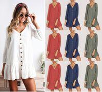 Estate sexy scollo a V abito corto spiaggia in cotone Mini sciolto Casual T Shirt Dress Plus Size Abbigliamento donna