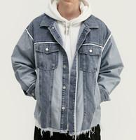 Herbst Winter New Style Herren Jacken Mode ausgefranst Farbabstimmung Vintage Jacken Motorradjacke Lose Jacken Outwear M-4XL