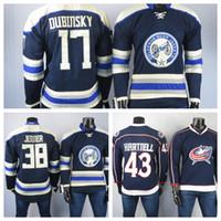 콜럼버스 블루 자켓 유니폼 17 Brandon Dubinsky Jersey 38 Boone Jenner 3 Seth Jones 43 Hartnell Men 's White Hockey Jerseys Stitched