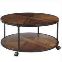 ファッション送料無料卸売雑貨売上高35.4キャスターホイールとユニークなテクスチャード加工表面の丸いコーヒーテーブル