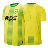 """Jersey FC Nantes Home CDL Yetişkin 19-20 Futbol Formaları, FC Nantes 19/20 Home Jersey Özel Baskı """"Hellfest"""" Futbol Gömlek Futbol Sahası"""