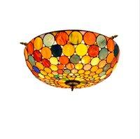 Tiffany soffitto di vetro colorato stile illumina 26 pollici europea decorativi del soffitto sala luce bar camera da letto retrò arte lampada semi-soffitto