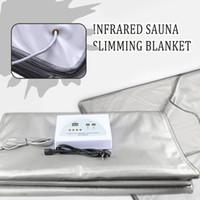 Nouveau modèle 2 Zone FIR Sauna FAR INFRAROUGE CORPS SAUNA MINCE BLANKET chauffage thérapie Slim Bag SPA perte de poids machine de désintoxication