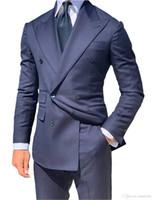 Nuevo esmoquin de novio azul marino Hombres de doble botonadura Boda Esmoquin Chaqueta de hombre de moda Blazer Hombres Cena de baile / Traje de Darty (Chaqueta + Pantalones + Corbata) 6