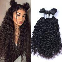 Cheveux brésiliens Bundles Vague de cheveux humains Weave naturel Couleur 4 Bundles humides et onduleux Extensions cheveux