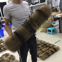 100% Real Natural Fur Collar Large Raccoon Fur Scarf 50cm 70...