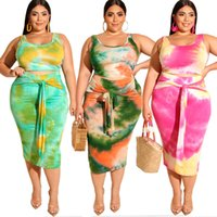 Large Size Women Two Pieces Sets 2019 Summer Tie Color Print...