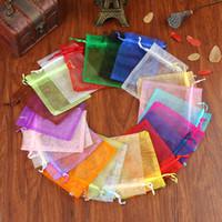 Atacado 100 pçs / lote Multicolors Sacos De Organza 9x12 cm Pequeno Saco de Jóias De Casamento Agradável Encantos Jóias Embalagem Bolsas Bolsas