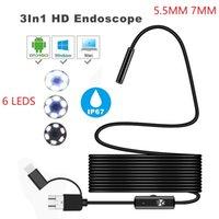 3 в 1 HD смартфон эндоскоп 5.5 мм 7 мм гибкая инспекционная камера Endoscopica 480p бороскоп с USB / Micro USB / Type-C для смартфона пк