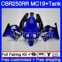 Molde de inyección para HONDA CBR 250RR MC19 CBR250RR 1988 1989 Cuerpo 261HM.39 CBR 250 RR 250R CBR250 RR 88 89 Kit de carenado + tapa azul de fábrica Tanque