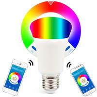 بلوتوث 6 واط الهاتف الذكي التحكم عكس الضوء متعدد الألوان أضواء led لمبة e26 e27 ل ios الروبوت الهاتف والكمبيوتر اللوحي